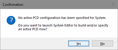 MCP Console no-PCD alert dialog