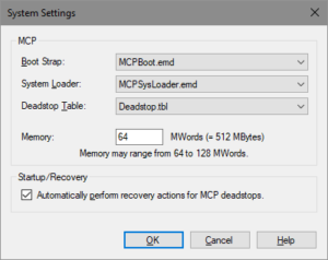 MCP Console System Settings dialog