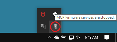 MCP Firmware Services system tray icon