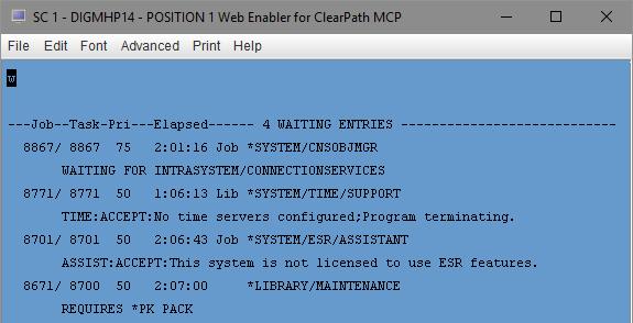 ODT additional waiting entries after initial halt/load