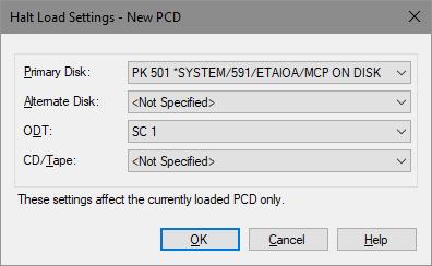 System Editor Halt/Load settings