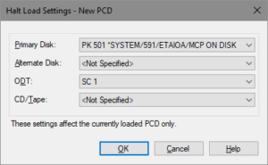 System Editor Halt/Load settings