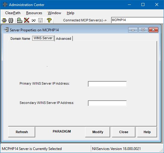Administration Center WINS server properties tab