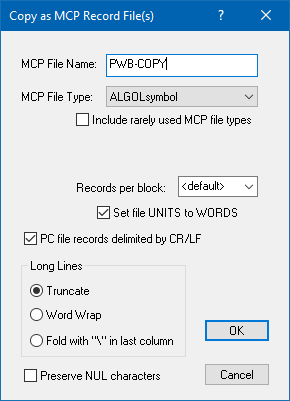 Explorer Extensions Copy as MCP Record File(s) dialog box