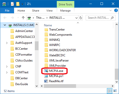 MCP INSTALLS directory and MCPIA.exe installation assistant utility