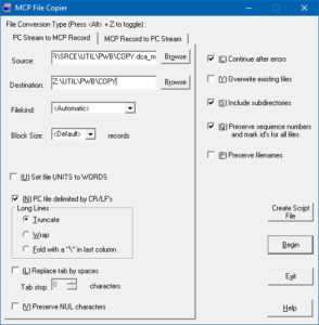 MCP File Copier PC Stream to MCP Record tab