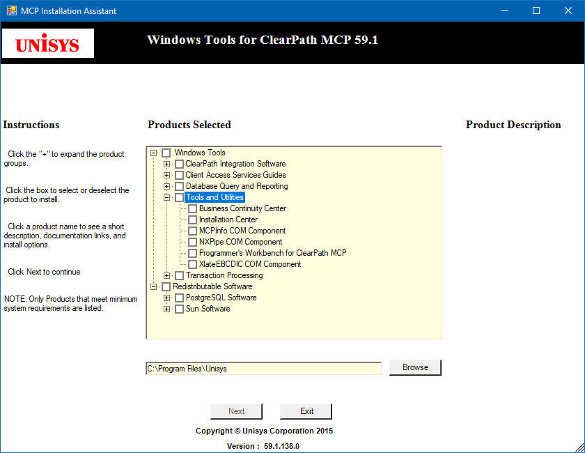 MCP Installation Assistant utility application selection window
