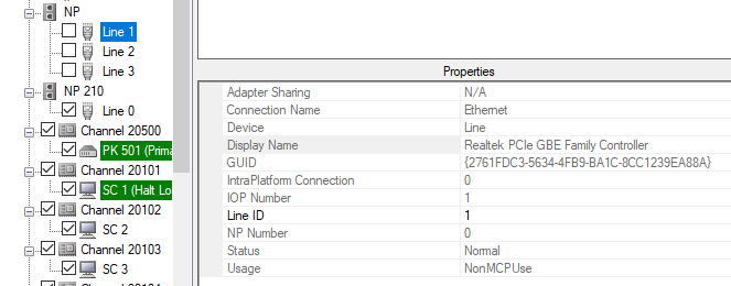 System Editor Network Adapter Details