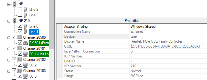 MCP Shared network adapter after selection